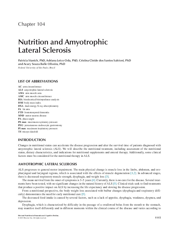 Chapter 104  Nutrition and Amyotrophic Lateral Sclerosis
