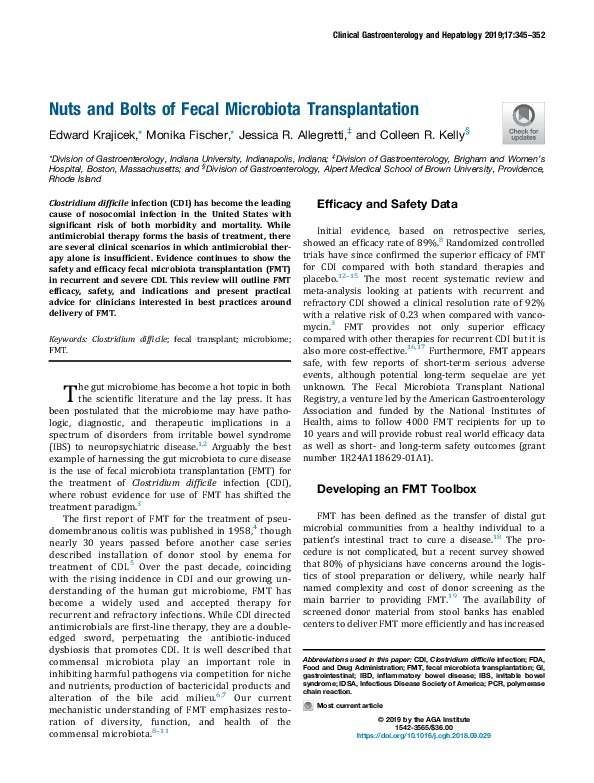 Nuts and Bolts of Fecal Microbiota Transplantation